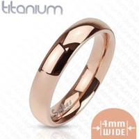 4mm Classic Rose Gold IP Solid Titanium Band Ring Women's Wedding Band