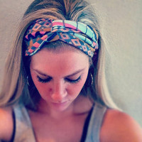 Bright Aztec - Stretch Twist Headband