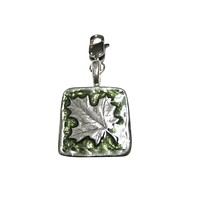 Green and Silver Toned Square Maple Leaf Pendant Zipper Pull Charm