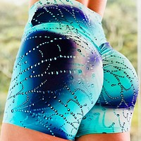 New fashion print running hip hot pants sports yoga shorts