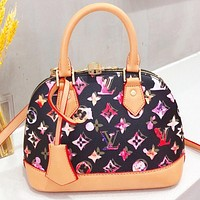 LV Fashion New Multicolor Monogram Print Leather Shell Shoulder Bag Crossbody Bag Handbag Black