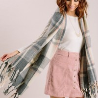 Misty Peach/Grey Plaid Scarf