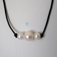 Pearl Necklace - 24 Inches 8-12mm  White Freshwater Pearl and Black Leather Necklace