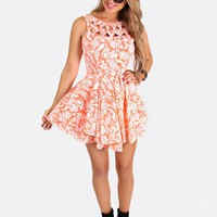 Coral Two-Tiered Skater Dress Featuring Contrast Print