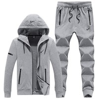NIKE autumn and winter models plus velvet sweater men's casual sports running clothes two-piece Grey
