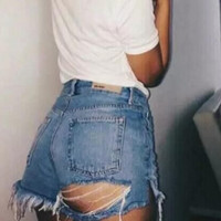 Fashion women jeans cowboy high waist holes pants shorts