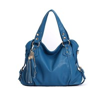 Leather Look Shoulder Bag with Twin Tassle Chain Charms for Women (blue)