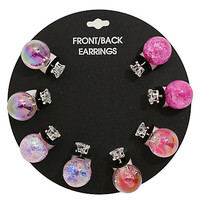 CZ Sphere Front/Back Ball Earring Set