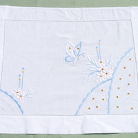 Tray Cloth or Place Setting, Place Mat, cotton, white, pink, blue, Embroidered, Flowers, Butterfly Motif