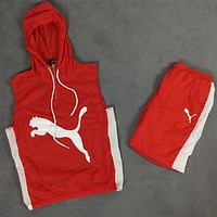 PUMA 2018 summer new hooded cuffed sunscreen shorts two-piece suit F0483-1 red