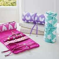 Quilted Sleepover Jewelry Roll, Hearts