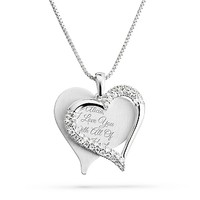 Personalized Brushed Heart Necklace With Free Keepsake Box, Add Your Message