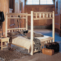 Full Size Cedar Wood Log 4 Poster Canopy Bed