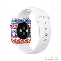 The Vector White-Blue-Red Aztec Pattern Full-Body Skin Set for the Apple Watch