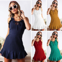 2019 new tide brand female straps ruffled dress