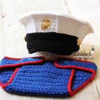 Original Design Crochet Marine Corps and Diaper cover set, USMC Hat, Baby Hat Photography prop