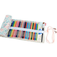 Damero Canvas Pencil Wrap case, Pencils Roll Hold For 72 Colored Pencils (NO Pencils included), Countryside, 72 Holes