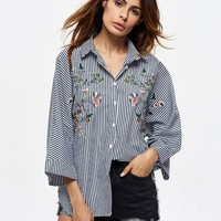 Casual Stripe Floral Embroidered Lapel Shirts For Women
