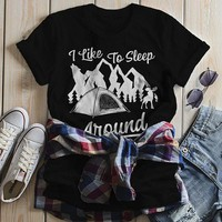 Women's Funny Camping T Shirt Sleep Around Tent Mountains Graphic Tee Camper Nature TShirt