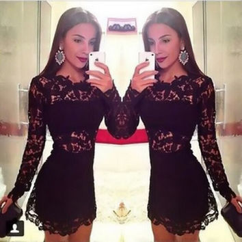 Sexy Lace Long Sleeve Round Neck Dress