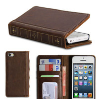 Apple iPhone 5C Brown PU Leather Magnetic Vintage Classical Book Pattern Wallet Flip Folio Case Cover Stand (with 3 Card Slots)