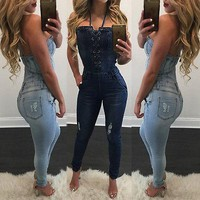 Fashion blue Womens jumpsuit Romper Overall Pants