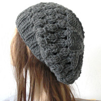 Hand Knit Womens  Hat   beret  Beanie in Charcoal Gray Slouch   Slouchy French   Beret Fall Autumn   Winter Accessories  Fashion