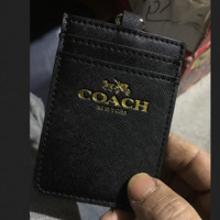 COACH high grade cross - cut leather waterproof work badge hang - line bus card set of cute documents