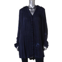 Free People Womens Snap Out Of It Pintuck Button Front Tunic Top