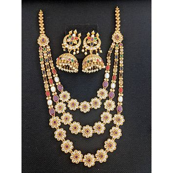 Triple stranded Necklace and Moon Jhumka Earrings set