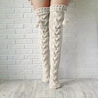 Sexy White Thigh High Over The Knee Socks Fashion Women's Long Knitted Stockings For Girls Ladies Women Winter Knit Socks