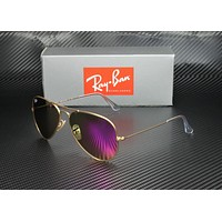RAY BAN RB3025 112 4T Aviator Matte Gold Green Mirror Fuxia 58mm Mens Sunglasses