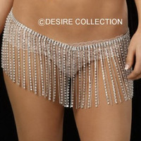 Exoticwear Rhinestone & Metal Beaded Skirt
