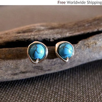 Turquoise Gold Stud Earrings - Gold Filled Wire Wrapped Turquoise Post Earrings - Gemstone Studs - Blue Studs / Turquoise Studs / Gold Studs
