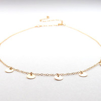 Dainty gold choker, short gold chain with dangling discs necklace, round charms choker, disc chain necklace in silver or gold