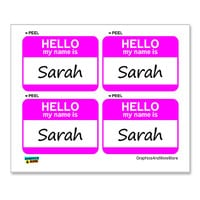 Sarah Hello My Name Is - Sheet of 4 Stickers