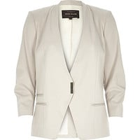 River Island Womens Beige fitted ruched sleeve blazer