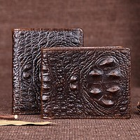 Genuine Leather Faux Crocodile Mens Wallet Casual Crocodile Skin 2 Colors Vintage High Quality Billfold for Men Designer Brand FREE SHIPPING