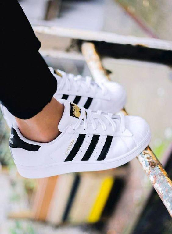 """Image of """"Adidas"""" Fashion Shell-toe Flats Sneakers Sport Shoes White Black Golden For women"""