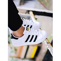 """Adidas"" Fashion Shell-toe Flats Sneakers Sport Shoes White Black Golden For women"
