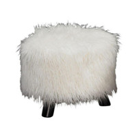 16 In. Birch Pine Faux Floakti Foot Stool in White Stylish Home Furniture Sturdy