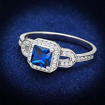 925 Silver Ring TS138 Rhodium 925 Sterling Silver Ring in London Blue