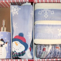 Let It Snow 16 Piece Shower Curtain Set w/ hooks, lotion pump and 2 hand towels