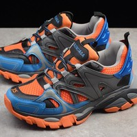 "Balenciaga -Track Outdoor Men Women Running Sneaker ""Blue&Grey&Orange"" W06E1-1046"
