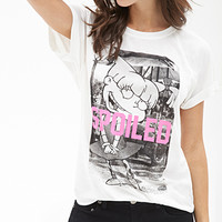 FOREVER 21 Spoiled Graphic Tee Cream/Black