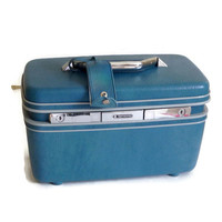 Vintage Samsonite Train Case, 1960's, Blue, Silhouette, Mint with Original Tags and Keys, Make Up Case, Movie Prop, Retro Luggage