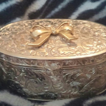 Gorgeous Vintage 60s Silver Plated Oval Ornate Trinket Jewelry Box with Gold Bowl and Black Velvet Lining