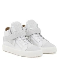 Giuseppe Zanotti Gz Derrick White Calf Leather And White Suede Mid Top Sneaker