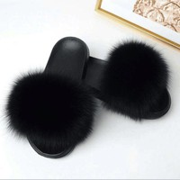 2018 Women Fashion Genuine Fox Fur Slipper Indoor Outdoor Flat Soft Summer Slide