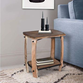 """24"""" Retro Rectangular Wooden End Side Accent Table with Bottom Shelf, Natural Brown By The Urban Port"""